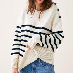 Zara Oversized Striped Chunky Knit Sweater NWT L
